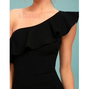 Lulu's Dresses - LULUS ruffled black one shoulder short dress